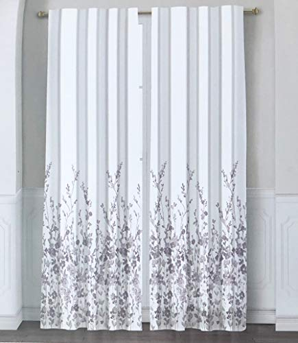 Arcadia Window Curtains Pink Gray Floral Wildflower Pattern on White Set of 2 Back Tabs Rod Pockets Panels Drapery, Myla - 50 Inches by 96 Inches