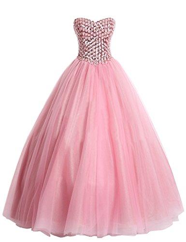 Dresstells Sweetheart Prom Dress Lace-up Back Tulle Dress Pink Size16