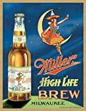 girl beer signs - Miller High Life Brew Tin Sign