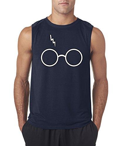 (New Way 836 - Men's Sleeveless Harry Potter Glasses Scar Lightning Bolt XL Navy)