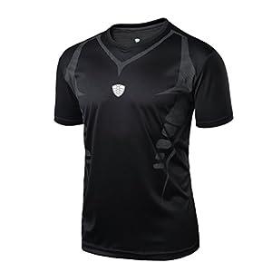 Men's Cool Dry Compression Baselayer Short Sleeve T Shirts Running Yoga Rashguard (L, Black)