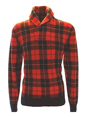 Ralph Lauren - Pullover - LS TARTAN Shawl PLAID Red - Wolle - Gr. L