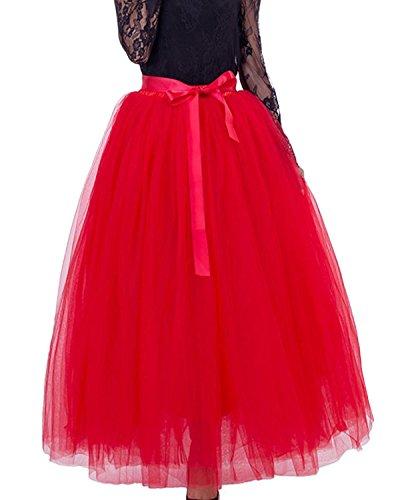 Comall Femme Jupon sous Robe Jupe Tutu en Tulle 7 Couches 100cm Rtro Vintage Petticoat Rouge