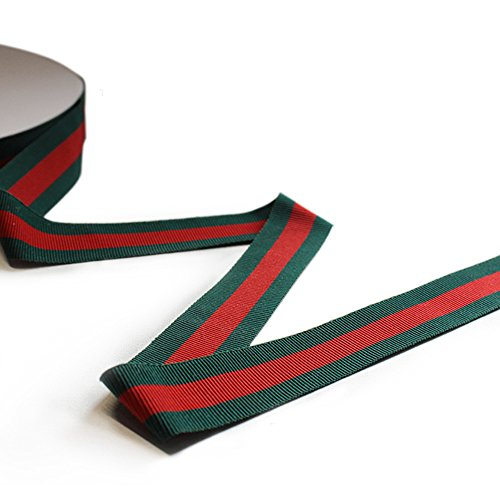 Ornerx Striped Grosgrain Christmas Ribbon Red Green 3/8