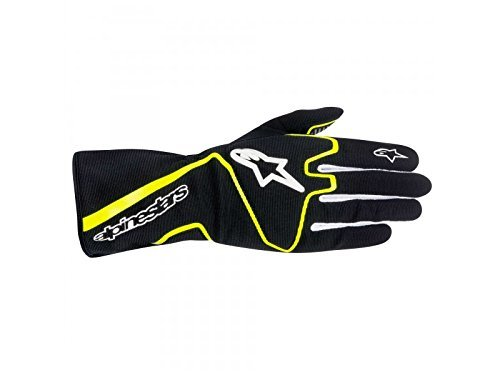 ALPINESTARS TECH 1-K RACE GLOVES - BLACK/YELLOW FLUORESCENT - SIZE M