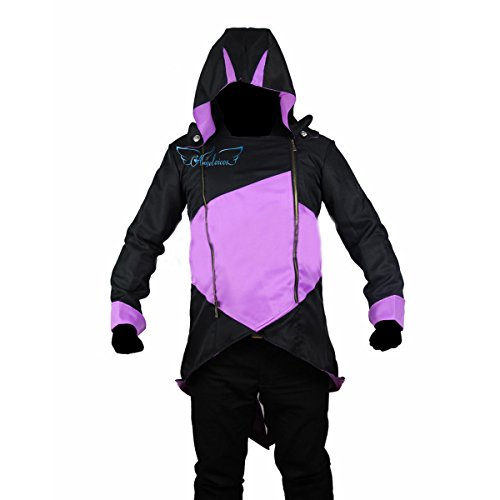 [Angelaicos Unisex Color Block Match Windbreaker Coats Jackets Outwear Adult Kids (S, Black Purple)] (Night Wind Costume)