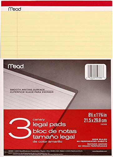 Mead Canary Legal Pads, 8.5 X 11.75 Inches, 6 Pack, 50 Sheets (59386) by  (Image #1)