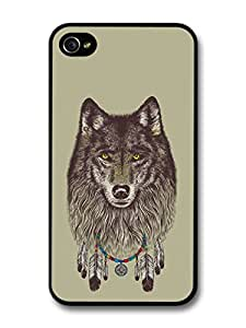Wolf With Dreamcatcher Native Indian Illustration Folklore case for iPhone 4 4S