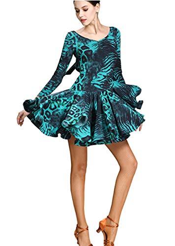 Latin Blue Skirts Waltz Leopard Ballroom Skirts Dress Dress Dress Modern qOTnzfwP5