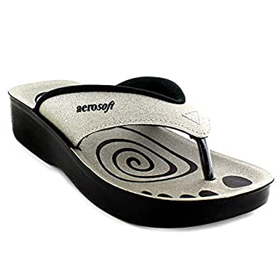 Aerosoft Silver Flip Flops Slipper For Girls