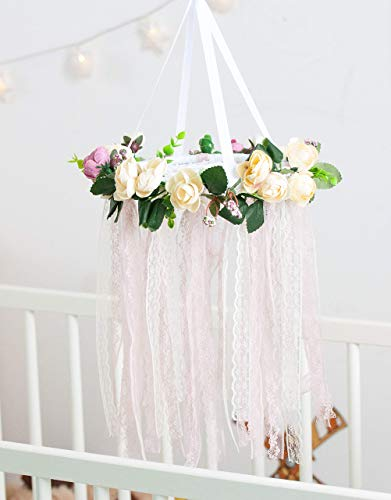 Boho Baby Mobile Flower Dreamcatcher Nursery Crib Mobile Floral Chandelier Baby Girl Shower Mom to be Gift Diam 8 inces(20 cm)