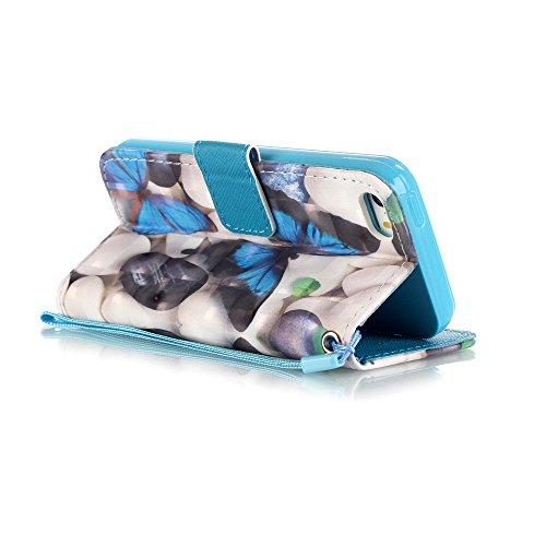 ZXLZKQ pour iPhone 5 / 5S / SE Étui Fleur Papillon Coeur d'amour Bleu PU Cuir 3D Bling Portefeuille Flip Magnétique Lanyard Housse Case Coque pour Apple iPhone 5 / 5S / SE (non applicable iPhone 5C)
