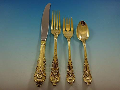(Sir Christopher Gold by Wallace Sterling Silver Flatware Service Set 12 Vermeil)