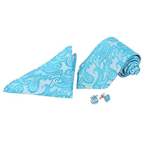Set Cufflinks Blue Lake Tie Hanky Neck Jacquard Men's zxIwq8CX8