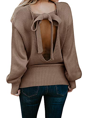 Ybenlow Womens Sexy Open Back Fall Sweaters Long Sleeve Knitted Knot Pullover Jumper Tops