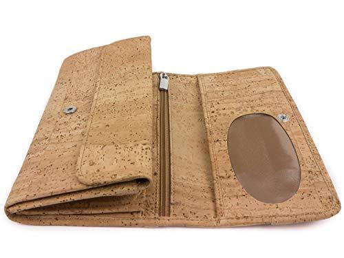 Billetera gran capacidad con 2 cremalleras - Cartera grande con monedero y espacio para 10 tarjetas - Hecha de piel vegana de corcho - Varios colores - by ...