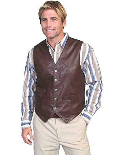 n Snap Front Vest Brown Large (Mens Lambskin Leather Vest)