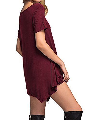 Long Length T Loose Sleeve Women's Short Simple Dress Plain Sleeve Star Casual Thin Soft Shirt wine Century Winter Knee Fall amp; Flowy Dress Red wpXfTvq