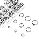 SODIAL Stainless Steel Single Ear Hose Clamp, 80Pcs 6-23.6mm Crimp Hose Clamp Assortment Kit Ear Stepless Cinch Rings Crimp Pinch Fitting Tools (1/4 Inch - 15/16 Inch)
