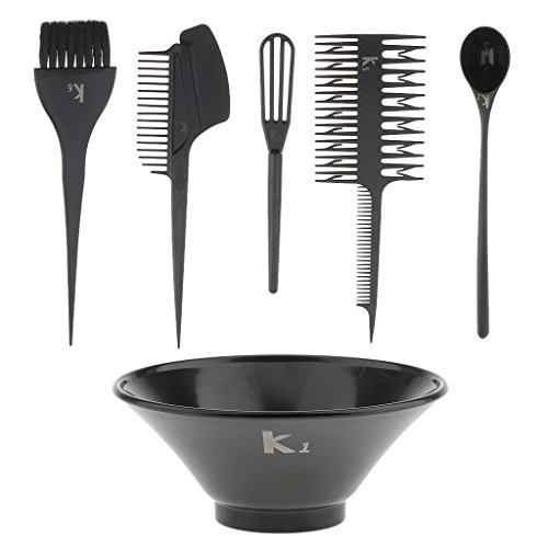 Homyl 6 Pieces Professional Hair Color Dye Bowl Highlight Comb Brush Tint Coloring Kit Black White - Including: Mixing Bowl, Spoon, Whisk, Two-Headed Comb, Comb, Brush. - Black by Homyl