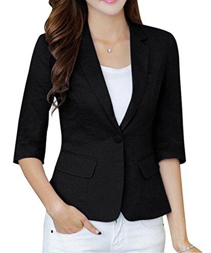 - LD Womens Casual Cotton Linen 3/4 Sleeve Short Crop OL Work Blazer Jacket Coat Black L