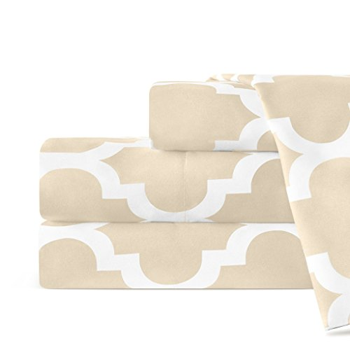 Egyptian Luxury 1600 Series Hotel Collection Quatrefoil Pattern Bed Sheet Set - Deep Pockets, Wrinkle and Fade Resistant, Hypoallergenic Sheet and Pillowcase Set - King - Cream