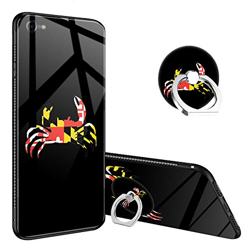 iPhone 6s Case,Maryland Crab iPhone 6 Tempered Glass Back Cases with Finger Ring Stand for Girl/Boys, 360°Rotatable Ring Holder Kickstand Fashoin Soft TPU Case for iPhone ()