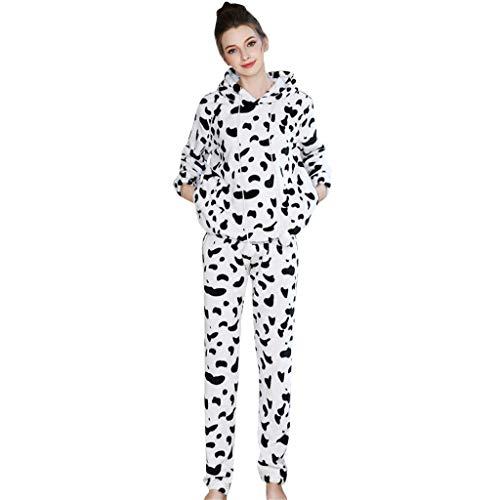 TIFENNY Winter Women's Cotton Soft Nightgown Sets Casual Nights Sleepwear Long Sleeves Thicken Sleepshirt Trousers