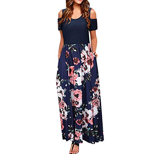 Pervobs Maxi Dresses for Women Short Sleeve Loose Summer Elegant Cold Shoulder Floral Print Pockets Casual Long Dress (M, Z02-Navy) ()