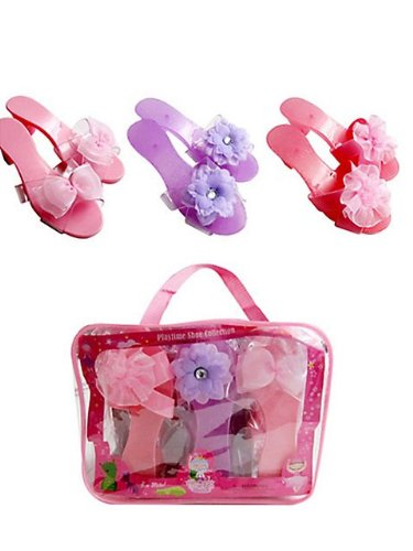 My Princess Academy Fancy Flower and Ribbon Shoe Collection with Carry Bag, (3 Pairs) (Childrens Dress Up Clothes)