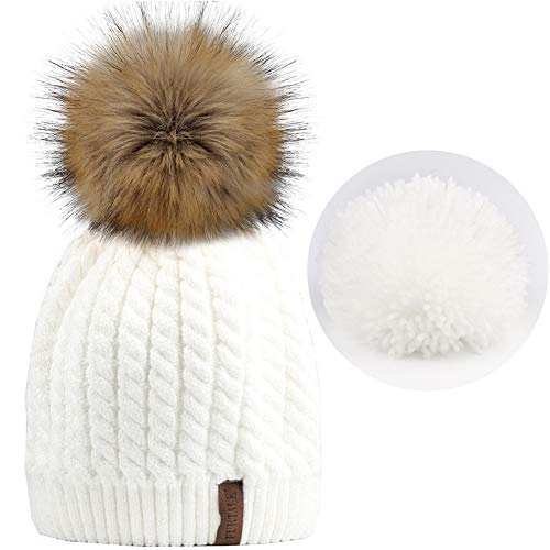 FURTALK Women Winter Knitted Pom Beanie-Fur Hat Big Pom Pom Hat Women Crochet Knit Bobble Hat
