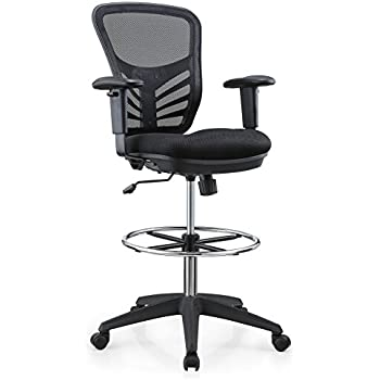 Amazon Com Modway Edge Drafting Chair In Black Vinyl