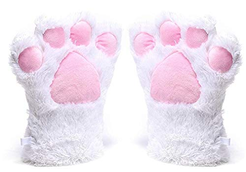 A&S Creavention Women Cat Bear Claw Paw Mitten Plush Glove Costume (White)]()