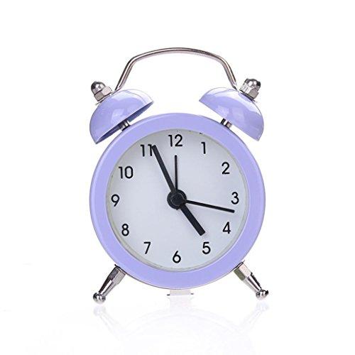 IEason Twin Bell Silent Alloy Stainless Metal Alarm Clock (Purple) from IEason Home & Garden