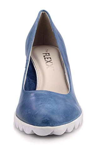 with Blue Denim Shoe Diplomatic Woman Heel The Flexx qfpnS