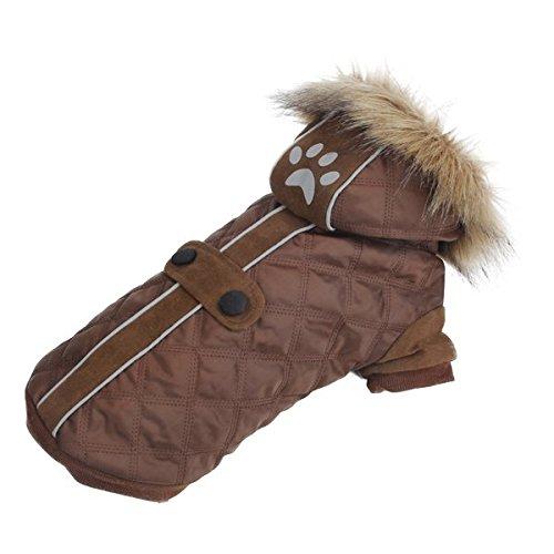Abrigo para perros Nobleza, color marrón, acolchado y con capucha. Largo 40cm. Envío gratis
