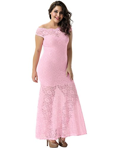 comeondear Lace Formal Vintage Sleeve Maxi Long Off Shouler Floral Pink Dress Women 6wraXq6