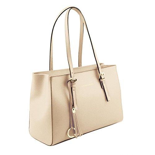 Bag Borsa Leather Manico Pelle Saffiano Tl141518 In Toscana Avorio nero Lungo Tl 6xRfZZw