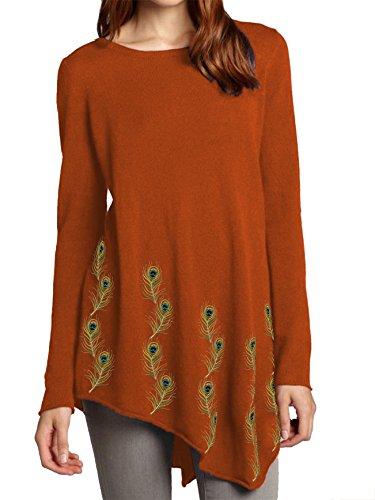 Embroidered Chiffon Silk Tunic Angled Hem (Orange, XXS) ()