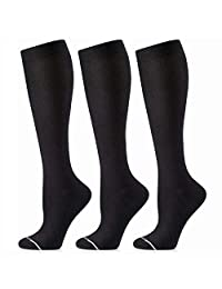 Cambivo Compression Socks for Women, Knee High Socks for Long Time Standing and Walking, Fit for Nurses, Flight, Athletic Sports, Travel - 3 Pairs
