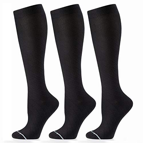 CAMBIVO Compression Socks for Women, 1 or 3 Pairs Knee High Cotton Dress Compression Socks 20 30mmhg, Fit for Nurses, Travel, Flying, Running, Pregnancy & Daily Wear (Black-3 Pairs, XX-Large)