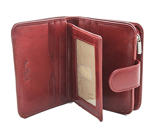 Tony Perotti Italian Bull Leather Compact Clutch Credit Card Wallet with ID and Zippered Coin Pocket