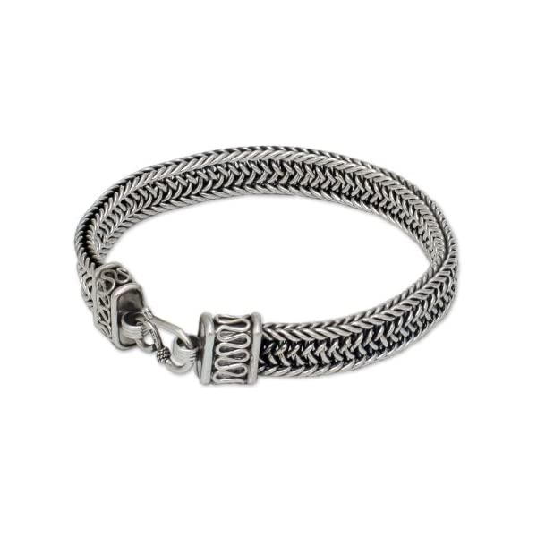 NOVICA-925-Sterling-Silver-Mens-Woven-Chain-Bracelet-85-Kingdom