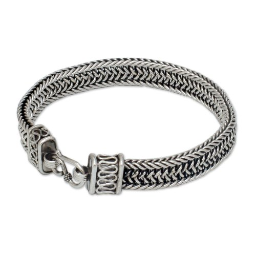 NOVICA .925 Sterling Silver Men's Woven Chain Bracelet, 8.5'', 'Kingdom' by NOVICA