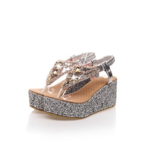 Solid with Kitten 8 B Sandals Soft Material Silver US Open Glass Diamond Toe Wedge PU Heels M WeenFashion Thong Womans np7qAAg