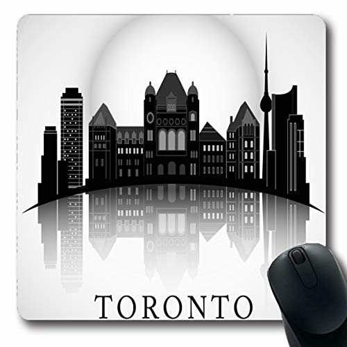 Ahawoso Mousepads for Computers American Hall Modern Toronto City Skyline Canada Abstract America Arc Black Design House Oblong Shape 7.9 x 9.5 Inches Non-Slip Oblong Gaming Mouse Pad (Hall Canada City)