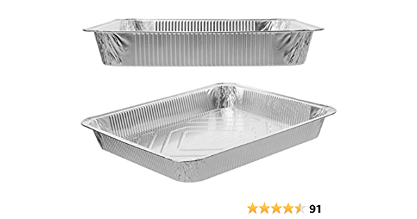 Pack of 25 TigerChef TC-20441 Aluminum Foil Lids for Full Size Steam Table Pans with Recipe Card 21 x 13 Size Full Size Lids