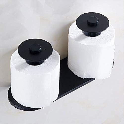 壁は浴室ストレージ、ブラックのためのトイレットペーパーホルダーアルミティッシュペーパーダブルロールホルダーをマウント (Color : Black)