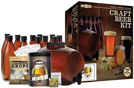 Mr. Beer Complete Beer Making 2 Gallon Starter Kit, Premium Gold Edition, Brown