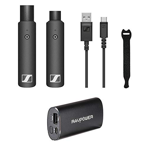 (Sennheiser XSW-D XLR Base Set Wireless Microphone System with RAVPower Luster 6700mAh Charger & Fastener Straps (10-Pack) Bundle)